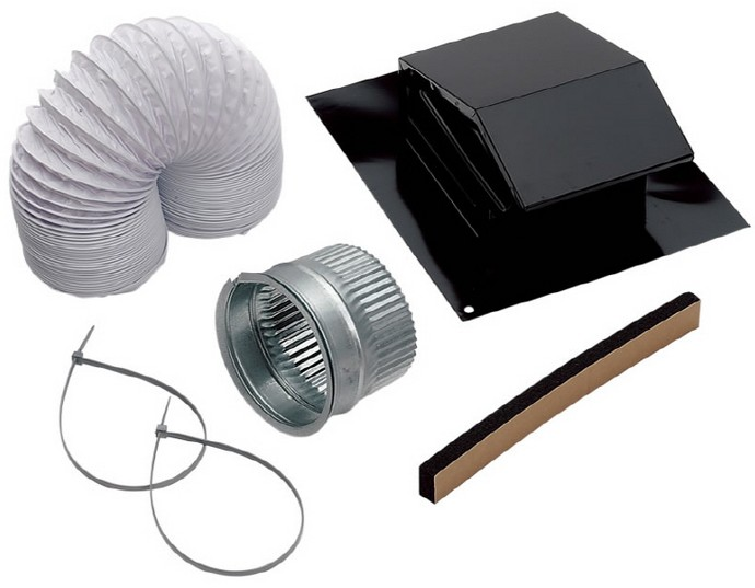 Roof vent kit. The middle component is the coupling that would normally connect the hose (upper left) to the vent cap (upper right). Instead of buying this $3 part, our electrical contractor decided to use duct tape, with predictable results. Image source: Lowes.com