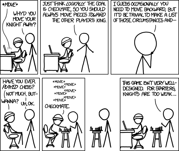 """Think Logically"" by Randall Munroe. http://xkcd.com/1112/"
